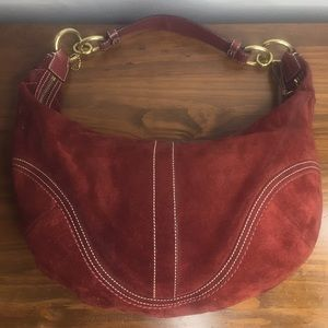 Authentic Coach Suede Burgundy Hobo Bag